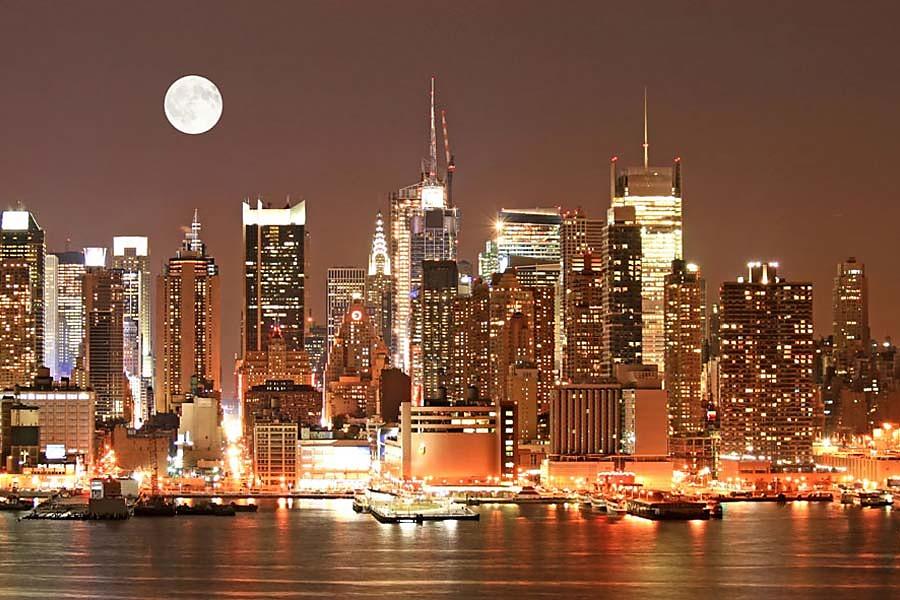 Fototapeta manhattan skyline at night 72 tapety new for Vinilos pared new york